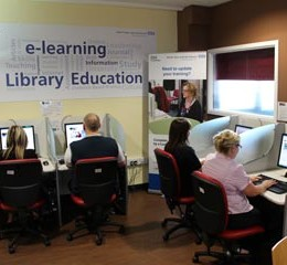 e-Learning computers at North Tees Hospital help staff who don't usually have access to computers to get their manual training completed