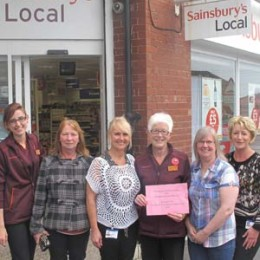 Horden Sainsburys with their donation for the Trusts Breast care service
