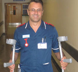Stuart Harper asks for patients to return their unused crutches