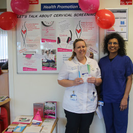 Lisa Tomlinson and Consultant Mary George, promote the importance of cervical screening