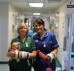 Carol and Michelle with some of the new twiddlemuffs being used for patients with dementia
