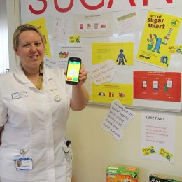 Lisa Tomlinson promotes her health promotion board in a bid to reduce people's sugar intake