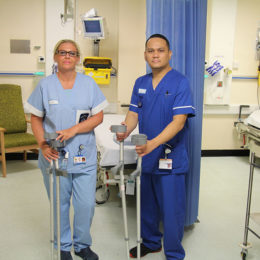 Staff members asking the public to return their unwanted crutches