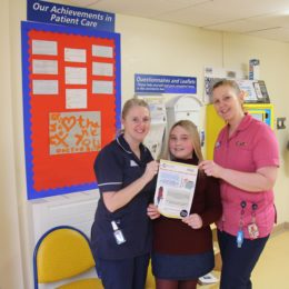 Twelve-year-old Olivia Magor, pictured with sister Janice Atkinson and play specialist Sandra Jackson