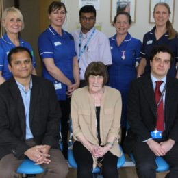 Staff involved in the innovative new breast surgery procedure with patient Marlene
