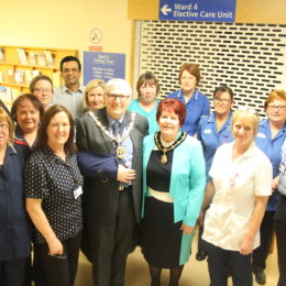 Mayor of Hartlepool, Councillor Rob Cook and Mayoress Brenda Cook meet staff from the elective care unit in Hartlepool