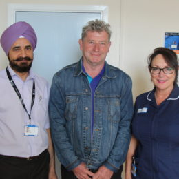 Patient Bill Collins with consultant Talvinder Gill and specialist colorectal Gill Trainer