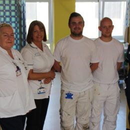 Trust painters and staff from elderly care ward who have worked to create the dementia friendly space
