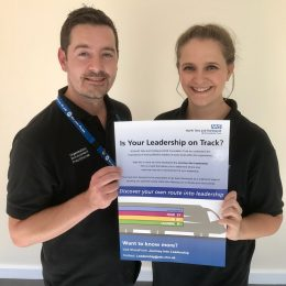 Staff members Gareth and Louise promote the journey into leadership programme