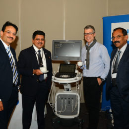 Collegues test advancing technology at the annual neonatal cardiology event