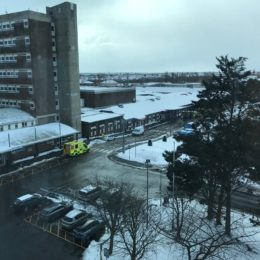 Exterior shot of North Tees Hospital in the snow