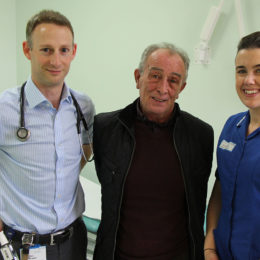 Research tial patient Terry Lowes with Consultant Ben Prudon and Research Nurse Claire