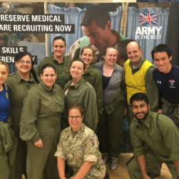 Team one taking part in exercise medical challenge