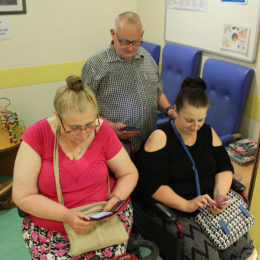 Patients trying out the new wifi service