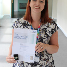 Sarah with her completed Mary Seacole certificate