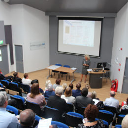 Chief Executive Julie Gillon presents to a full lecture theatre