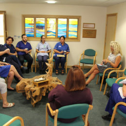Chief Executive Julie Gillon talking to staff at Hartlepool at this months coffee morning