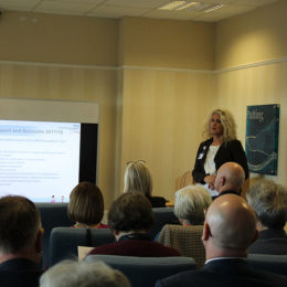 Julie Gillon presenting this years AGM to audience