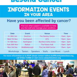 Living with and beyond cancer event poster