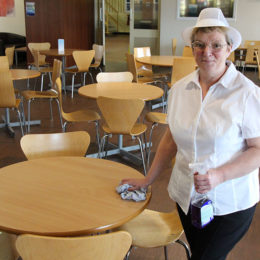 Alison Jackson, 52 from Billingham, at the start of her placement in catering
