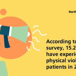 According to a staff survey, 15.2% of staff have experienced physical violence from patients in 2017
