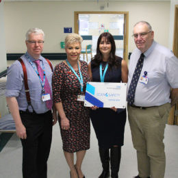 Jane Hawkes, Scan4Safety programme lead and collegues celebrate national accreditation of the Scan4Safety programme