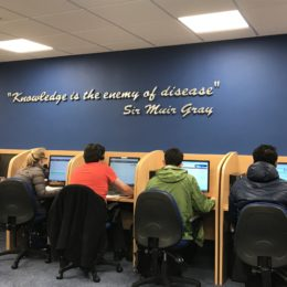'Knowledge is the enemy of disease' - Students doctors working hard in the Trust medical library
