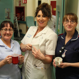 Colleagues from short stay at North Tees showcase some of the cups that were tested