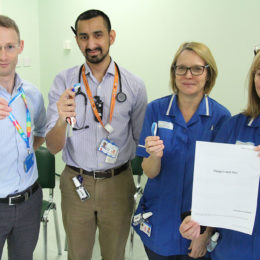 The respiratory team with the new patient information sheet