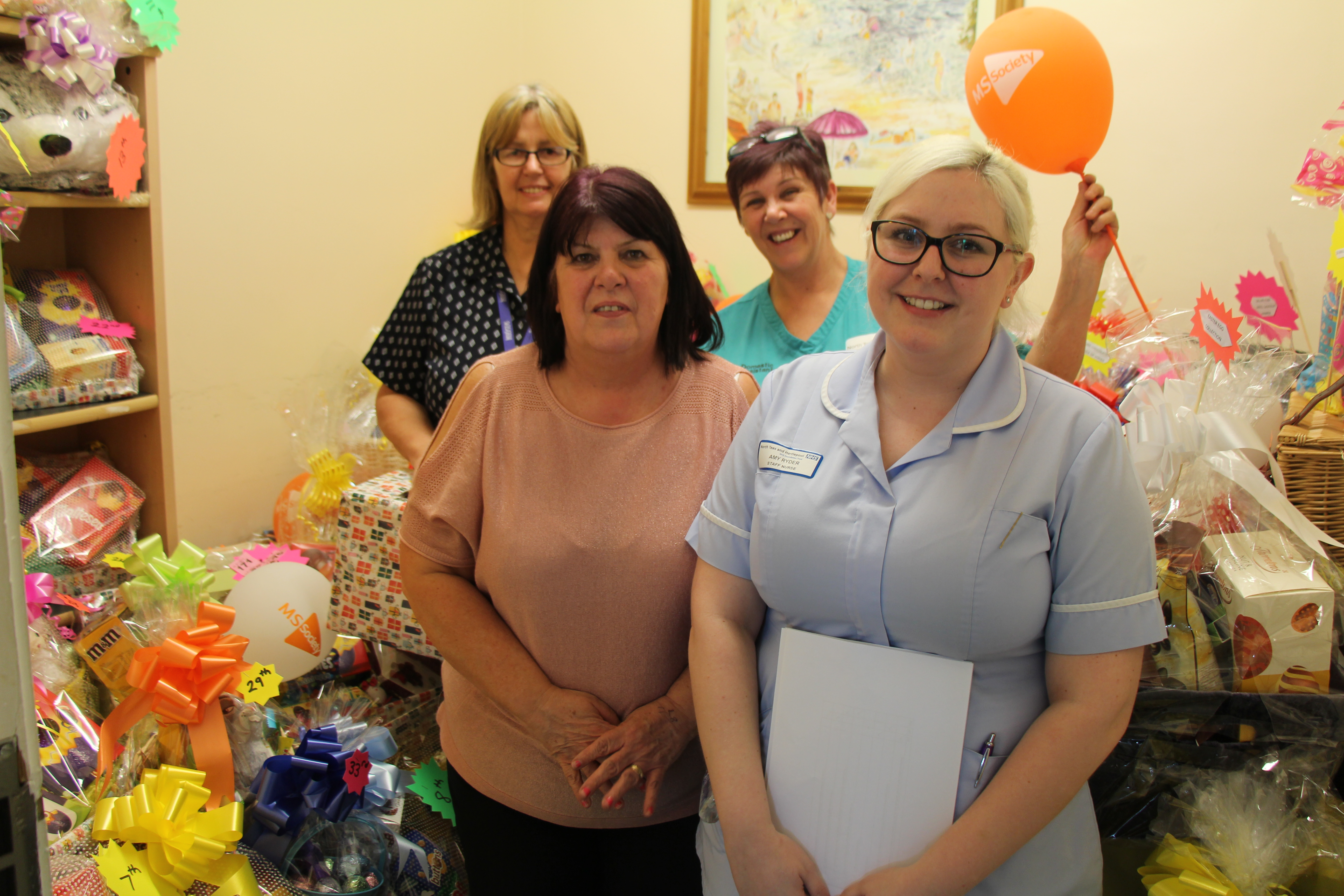 Staff from Wards 32 and 33 with Easter raffle prizes