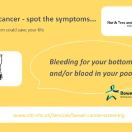 Image of social media post from North Tees and Hartlepool NHS Foundation Trust for bowel cancer awareness