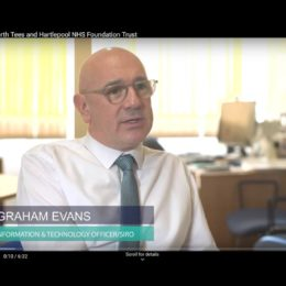 A still from the latest TrakCare video interviewing Dr Graham Evans, Chief Information And Technology Officer