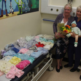 Maureen Wilkinson with all her knitted goods for the premature babies of Teesside