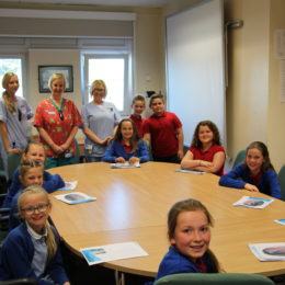 Young inspectors from Throston School share their findings with staff in the Emergency department seminar room