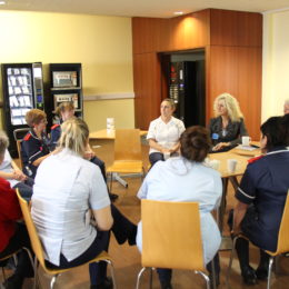 Staff at the back of the Tees Restaurant share their thoughts at monthly Chief Executive Coffee Morning