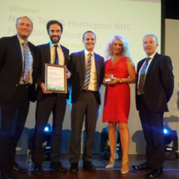 Trust receiving 'Investment in Training Award 2019' at the Hartlepool Business Awards