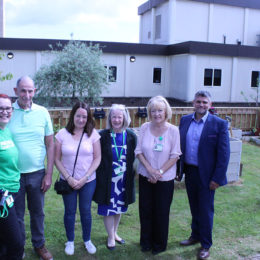 Staff show off the new North Tees hospital cancer community garden
