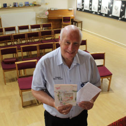 Dave Russon stands in the spirituality centre at North Tees Hospital with the donation and letter of thanks
