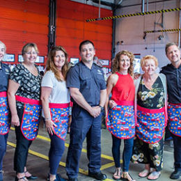 Staff from the fire service fundraiser at Peterlee Fire station