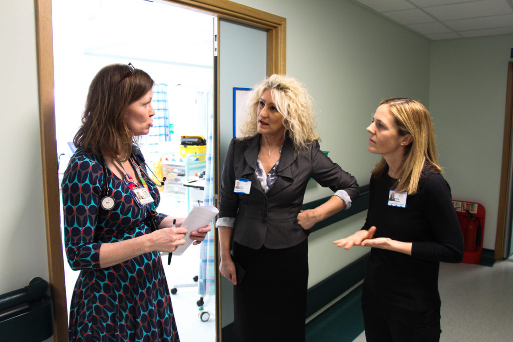 Julie Gillon on a ward walk-round in EAU at the University Hospital of North Tees