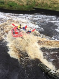 Haematology team white water rafting on the river tees