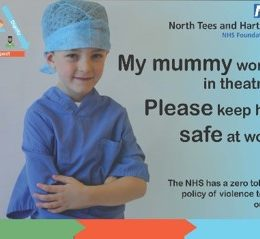 Image of poster displaying young child and his plea to keep health worker parent safe