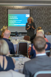 Image of Chief Executive Julie Gillon presenting at smoking in pregnancy event