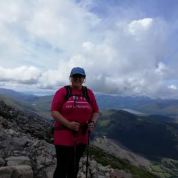 Staff Member Claire enjoying the views from Ben Nevis