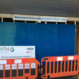 University Hospital of North Tees - entrance closed