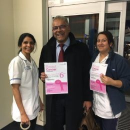 Medical Director and Deputy Chief Executive Deepak Dwarakanath with breast screening colleagues promoting the event