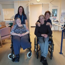 Amputee rehab physiotherapist Gill Rooney with colleague and some of her patients