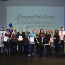 Apprentices from North Tees and Hartlepool NHS Foundation Trust at the celebration event at Stockton Riverside College celebrated at awards event