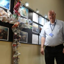 Chaplain Dave Russon showcasing new installation in the spiritual centre at North Tees