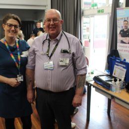 Collagues at careers event for young students
